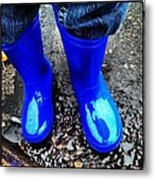 Blue Rain Boots Metal Print