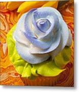 Blue Rose Cup Cake Metal Print