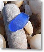 Blue Sea Glass Metal Print