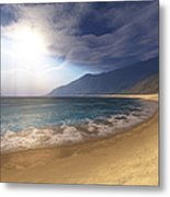 Blue Seas And Radient Sun Shine In This Metal Print