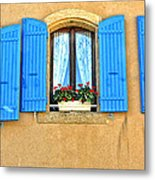 Blue Shutters In Provence Metal Print