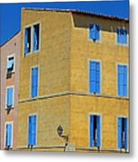 Blue Shutters Martigues France Metal Print