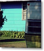 Blue Siding And Camper Metal Print