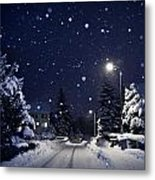 Blue Silent Night Metal Print