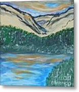 Blue Sky Mountain Range Metal Print