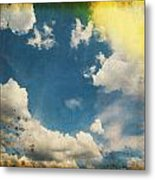 Blue Sky On Old Grunge Paper Metal Print