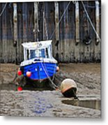 Blue Small Boat Metal Print