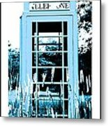 Blue Telephone Booth In A Field In Maine Metal Print by Kara Ray
