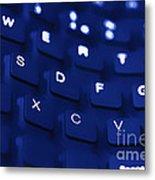 Blue Warped Keyboard Metal Print
