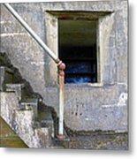 Blue Window Bunker Metal Print