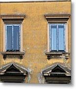 Blue Windows On A Yellow Wall In Milan Metal Print