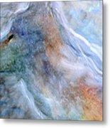 Blue Wolf In Mist Metal Print
