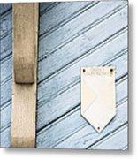 Blue Wooden Door With A Plate Metal Print
