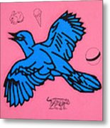 Bluebird On Pink Metal Print