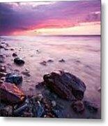 Bluffs Beach Sunset 2 Metal Print