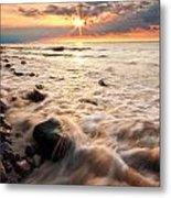 Bluffs Beach Sunset 3 Metal Print