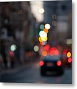 Blurred Traffic Jam Metal Print