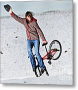 Bmx Flatland In The Snow - Monika Hinz Metal Print