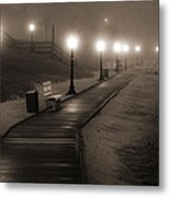 Boardwalk In The Fog Metal Print