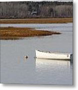 Boat Anchored At Pine Point Scarborough Maine Metal Print