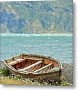 Boat And Wild Flowers By Sea Metal Print by M Moraes