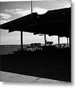 Boat At Pier Leaving Olhao To Amona Island Portugal In Black And White Metal Print
