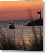 Boat By Harbor Entrance Metal Print