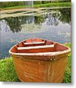 Boat By The Pond Metal Print