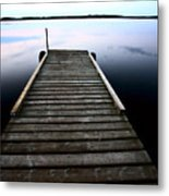 Boat Dock At Smallfish Lake In Scenic Saskatchewan Metal Print
