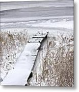 Boat Dock In Winter On A Lake No.0243 Metal Print