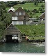 Boat House On A Mountain Slope On The Shore Of Lake Lucerne In Switzerland Metal Print