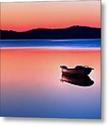 Boat In Sunset II Metal Print