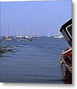 Boat Moored In The Sea, Strangford Metal Print