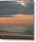 Boat On Horizon In Maine Metal Print