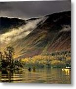 Boat On Lake Derwent, Cumbria, England Metal Print