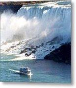 Boat On Niagara Falls Metal Print