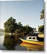 Boat On Sandy Beach Metal Print