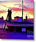Boat On Santa Cruz Wharf Metal Print by Garnett  Jaeger