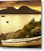Boat On The Shore At Sunset, Island Of Metal Print