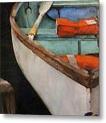 Boat With Red Metal Print by Jose Romero