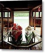 Boathouse At Maligne Lake Metal Print