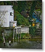 Boathouse Boy Fishing Metal Print