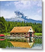 Boathouse On Mountain Lake Metal Print