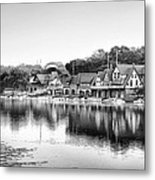 Boathouse Row In Black And White Metal Print