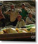 Boatmen In Laos Metal Print