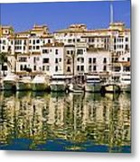 Boats And Houses On Waterfront Metal Print
