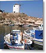 Boats And Windmill Metal Print by Jane Rix