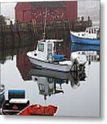 Boats At Rockport Harbor Metal Print