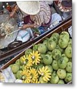 Boats At The Damnoen Saduak Floating Market In Thailand Metal Print by Roberto Morgenthaler