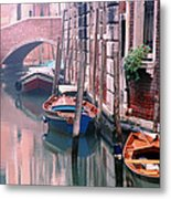 Boats Bridge And Reflections In A Venice Canal Metal Print